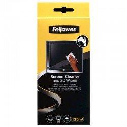 Kit limpiador pantallas fellowes 99701 - spray 125ml - 20 toallitas absorbentes - propiedades anti estáticas que eliminan