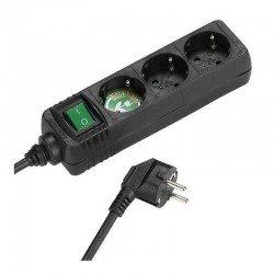 Regleta vivanco 27015 negra - 3* schuko - contactos de seguridad - interruptor on/off - cable 1.4m