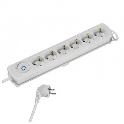Regleta vivanco 37647 comfort blanca - 6 tomas schuko - interruptor on/off - 16a / 3680w - cable 1.4m