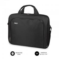 Maletín subblim oxford black - para portátiles hasta 13.3'-14'/ 33.7-35.5cm - interior acolchado - bolsillo exterior - correa