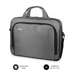 Maletín subblim oxford grey - para portátiles hasta 15.4'-16'/39.1-40.64cm - interior acolchado - bolsillo exterior - correa de