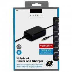 Cargador para portátil vivanco 30467 - 48w - 100/240v - 9.5-20v - 3a max. - 10 conectores - compatibilidad según