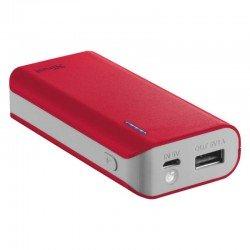Batería externa trust urban primo powerbank 4400 roja - 4400mah - 5w/1a - led carga - cable microusb - función linterna -