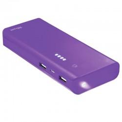 Batería externa trust urban purple primo powerbank 10000mah - usb 5w/1a + usb 10w/2.1a - 2xcable microusb - func. linterna -