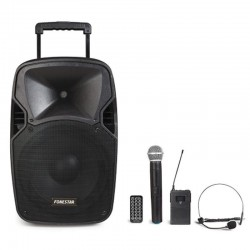 Altavoz trolley fonestar malibu-212p - 40w rms - bt - usb/microsd - micrófonos inalámbricos de mano y cabeza - bat. 12v/7.5ah