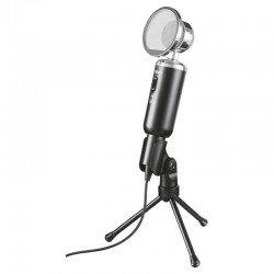 Micrófono trust madell desk vintage - omnidireccional - filtro rejilla - botón silenciador - trípode - jack 3.5mm - cable 250cm