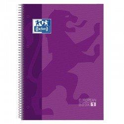 Libreta oxford europeanbook 1 morado a4+ - tapa extradura - 80 hojas - rayado cuadricula 5*5 - 90gr