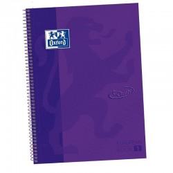 Libreta oxford europeanbook 1 lila touch a4+ - tapa extradura - 80 hojas - rayado cuadricula 5*5 - 90gr