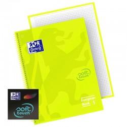 Cuaderno oxford espiral a4+ touch - tapa extradura con tacto suave y acabado mate - color lima - cuadricula 5x5  - 80 hojas