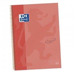 Libreta oxford europeanbook 1 coral touch a4+ - tapa extradura - 80 hojas - rayado cuadricula 5*5 - 90gr