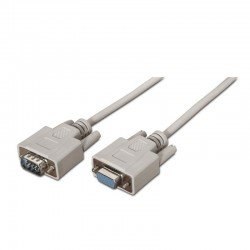 Cable serie rs232 aisens a112-0065 - conectores tipo db9/m-db9/h - 1.8 m - beige
