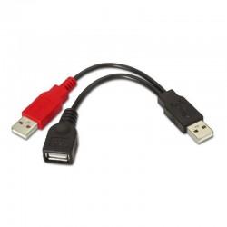 Cable usb 2.0 + alimentación aisens a101-0030 - conectores usb tipo a hembra + tipo a macho/tipo a macho - 15cm - negro