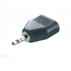 Adaptador jack estéreo vivanco 46064 - 1*jack 3.5mm macho - 2*3.5mm hembra - negro