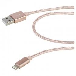 Cable lightning vivanco 37567 rosa - conectores usb-a a lightning - mallado nailon - 1.5m