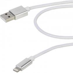 Cable usb lightning vivanco 38306 blanco - conectores usb-a macho a lightning - funda nylon - carga y datos - 2.5m