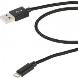 Cable usb lightning vivanco 38307 negro - conectores usb-a macho a lightning - funda nylon - carga y datos - 2.5m