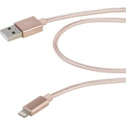 Cable usb lightning vivanco 38309 rosa - conectores usb-a macho a lightning - funda nylon - carga y datos - 2.5m