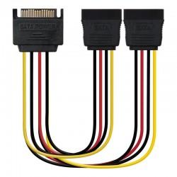 Adaptador de alimentación nanocable 10.19.0103 - conectores 1*sata macho/2*sata hembra - 20cm