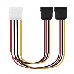Cable duplicador de alimentación nanocable 10.19.0101-oem - conectores molex 4pin macho / 2*sata hembra - 20cm - oem
