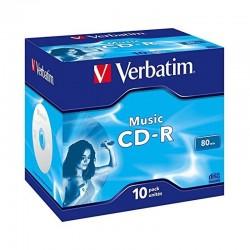 Pack 10 music cd-r verbatim 43365 - 80 minutos - 16x - jewel case