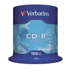 Cd-rom verbatim datalife 52x 700mb tarrina 100 unidades extra protección