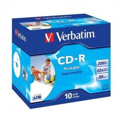 Cd-rom imprimibles verbatim superazo wide print surface id 52x 700mb 10 unidades