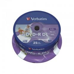 Tarrina de dvd doble capa verbatim 25 unidades dvd+r dl 8.5gb 8x