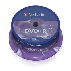 Dvd+r verbatim advanced azo 16x 4.7gb tarrina 25 unidades