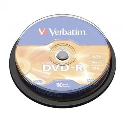 Dvd-r verbatim advanced azo 16x 4.7gb tarrina 10 unidades