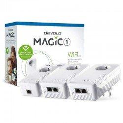 Plc/powerline devolo magic 1 wifi 21-3 8373 - 3 unidades (1 lan + 2 wifi) - 1200mbps (plc)/300mbps (wifi) - rj45 - toma schuko