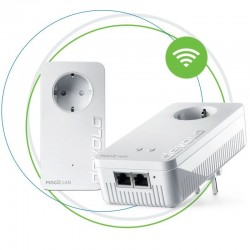 Plc/powerline devolo magic 2 wifi next starter kit - pack 2 unidades (lan / wifi) - hasta 2400mbps - 2*rj45 gigabit - toma