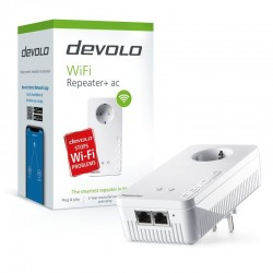 Repetidor wifi/ac devolo 8705 - dual band (2.4+5ghz) - 300/867mbps - alcance 90m2 - 2*2mimo - 2*rj45 - 1*schuko - automdi-x -