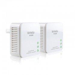Plc/powerline tenda p200 - pack 2 uds - 200mbps - 300m - botón de seguridad- plug and play