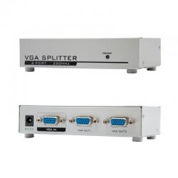 Splitter multiplexor vga nanocable 10.25.0002 - 1 entrada - 2 salidas - aumenta señal hasta 65m - adaptador de corriente
