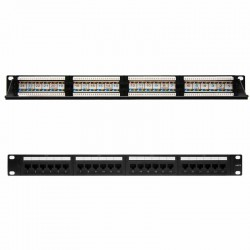 Patch panel nanocable 10.21.3124 24 puertos - 19'/48.26cm - 1u - para rj45 cat.6 - dual idc - acepta cables de calibres 26 / 24