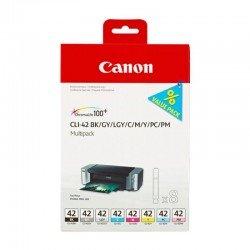 Cartucho inyección tinta colores cli-42bk-c-m-y-pm-pc-gy-lgy pack 8 - compatible con pixma pro-100