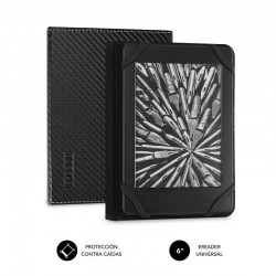 Funda subblim clever ebook para e-reader 6'/15.24cm black - material exterior símil fibra de carbono - cierre mediante solapa
