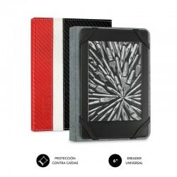 Funda subblim clever ebook para e-reader 6'/15.24cm red - material exterior símil fibra de carbono - cierre mediante solapa