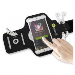 Brazalete deportivo muvit muarm0029 - ultrafino - compatible con smartphones de 4.7/5.7' (11.9/14.4cm) - color  negro + bolsa