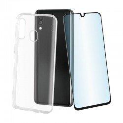 Pack muvit mupak0431 para samsung galaxy a40 - funda cristal soft transparente + protector vidrio templado marco negro