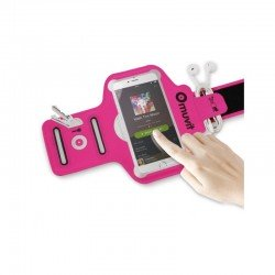 Brazalete deportivo muvit muarm0027 - ultrafino - compatible con smartphones de 4/4.7' (10.16/11.94cm) - color fucsia + bolsa