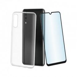 Pack muvit mupak0424 para samsung galaxy a50/a50s - funda cristal soft transparente + protector vidrio templado marco negro