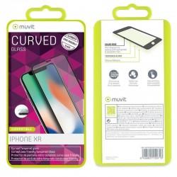 Protector de pantalla muvit marco negro mutpg0392 para iphone 11/xr - vidrio templado 0.3mm - 9h - borde curvo