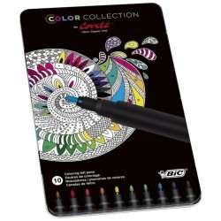 Caja metálica con 10 rotuladores bic para pintar mandalas - color collection by conte - colores surtidos