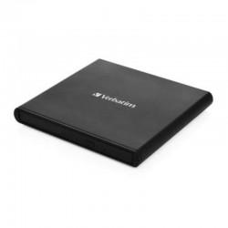 Grabadora externa cd/dvd doble capa slimline verbatim 53504 black - cd 24x - dvd 8x - compatible con mdisc - usb 2.0