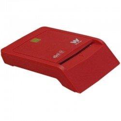 Lector de dni/tarjetas inteligentes woxter rojo - compatible con dnie/dni 3.0 y smartcards - usb 2.0 - compatible mac/pc