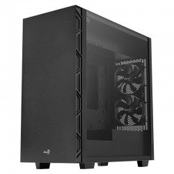 Caja semitorre aerocool flo black - 2*usb 3.0 / 2*usb 2.0 - hd audio y mic - panel lateral cristal templado - vga max. 321mm -