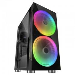 Caja semitorre mars gaming mc9 black - usb3.0 - 2*usb2.0 - hd audio+mic - 2 ventiladores rgb 200mm - ventana lateral + frontal