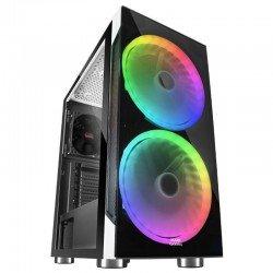Caja semitorre mars gaming mc9 white - usb3.0 - 2*usb2.0 - hd audio+mic - 2 ventiladores rgb 200mm - ventana lateral + frontal