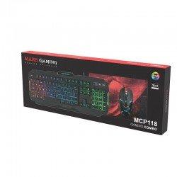 Pack mars gaming rgb mcp118 - teclado rgb rainbow - ratón ergonómico rgb flow - alfombrilla superficie amplia
